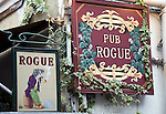 Photo shows the sign outside Pub Rogue -- a popular British-style pub in the trendy neighborhood of Kichijoji in Musashino City,  Tokyo, Japan on 16 Sept. 2012.  Photographer: Robert Gilhooly