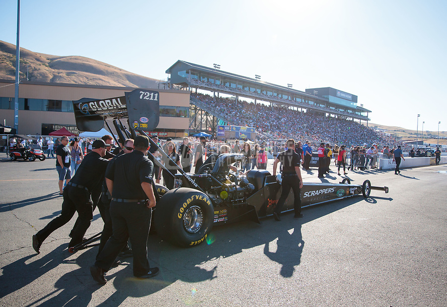 Jul 26, 2019; Sonoma, CA, USA; Crew members for NHRA top fuel driver Mike Salinas during qualifying for the Sonoma Nationals at Sonoma Raceway. Mandatory Credit: Mark J. Rebilas-USA TODAY Sports