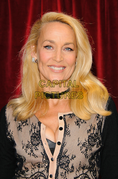 Jerry Hall.British Soap Awards 2012, The London Television Centre, London, England..28th April 2012.headshot portrait black pink lace cleavage smiling choker necklace .CAP/CJ.©Chris Joseph/Capital Pictures.