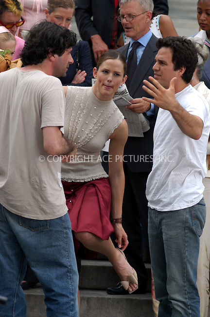 Jennifer Garner was on the set of her new movie '13 going on 30' with co-star Mark Ruffalo (r) and Director Gary Winick (l) in New York City. July 7 2003, New York. Please byline: NY Photo Press.   ..*PAY-PER-USE*      ....NY Photo Press:  ..phone (646) 267-6913;   ..e-mail: info@nyphotopress.com