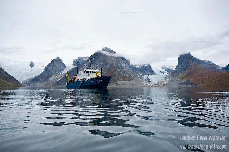 The Arctic expedition ship, Akademik Shokakskiy, at rest in Tasermiut Fjord, Southern Greenland