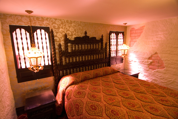 California, San Luis Obispo County: Madonna Inn room, San Luis Obispo.  Gaudy themed rooms at classic Americana lodging..Photo caluis164-71113..Photo copyright Lee Foster, www.fostertravel.com, 510-549-2202, lee@fostertravel.com