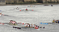 Chiswick, London. ENGLAND, 09.03.2006, J16 8+ crews move past chiswick Eyot during the Schools Head of the River Race Chiswick Bridge to Putney  on Thursday 9th March    © Peter Spurrier/Intersport-images.com.. Schools Head of the River Race. Rowing Course: River Thames, Championship course, Putney to Mortlake 4.25 Miles