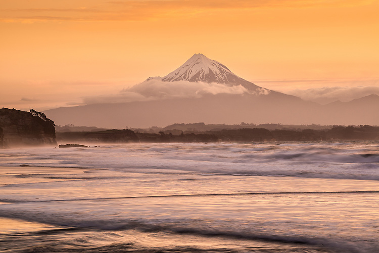 Mount Egmont at sunset, Waiiti Beach, Taranaki, New Zealand - stock photo, canvas, fine art print