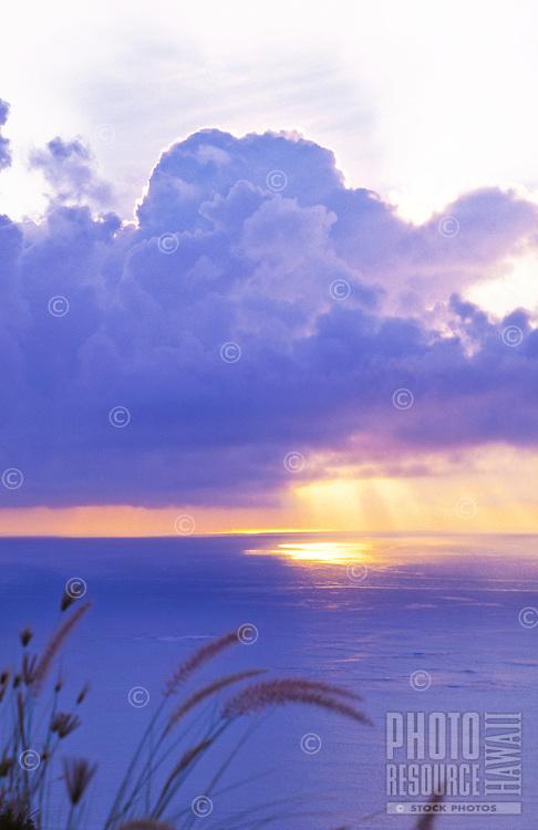 Sunrise over open ocean from Lanikai ridge, windward Oahu
