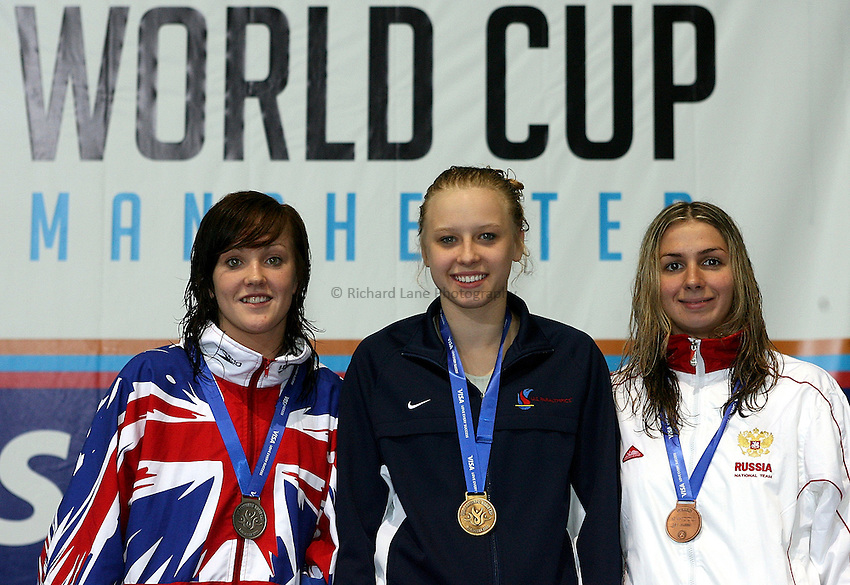 Photo: Paul Thomas..VISA Paralympic World Cup 2007. Swimming. 12/05/2007...Womens S8 100m Butterfly, (L-R) Rachael Latham of Great Britain, Jessica Long of the USA and Anna Vengerovskaya of Russia.