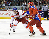 Rudolf Cerveny (Czech Republic - 21), Maxim Chudinov (Russia - 27) - Russia defeated the Czech Republic 5-1 on Friday, January 2, 2009, at Scotiabank Place in Kanata (Ottawa), Ontario, during the 2009 World Junior Championship.