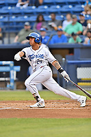 Asheville Tourists third baseman Colton Welker (24) swings at a pitch during a game against the Rome Braves at McCormick Field on June 12, 2017 in Asheville, North Carolina. The Tourists defeated the Braves 7-0. (Tony Farlow/Four Seam Images)