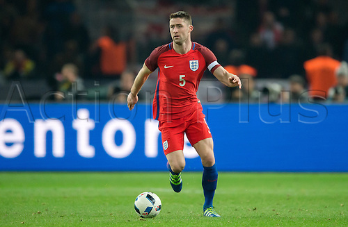 26.03.2016. Olympiastadion Berlin, Berlin, Germany.  England's Gary Cahill in action during the international friendly soccer match between Germany and England at the Olympiastadion