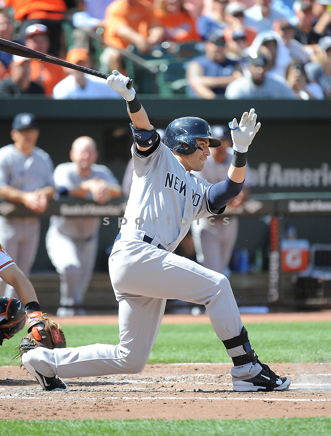 New York Yankees Jacoby Ellsbury (22) during a game against the Baltimore Orioles on September 12, 2014 at Orioles Park in Baltimore, MD. The Orioles beat the Yankees 2-1.