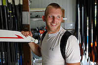 Former Marine sergeant Rob Jones smiles after a long work out Wednesday July, 25, 2012 on the Rivanna River in Charlottesville, VA. Former Marine sergeant Jones, who lost both legs during an IED explosion in Afghanistan, will compete as a rower at the 2012 Paralympics in London, England. Rowing will make its appearance at the London Paralympic Games for only the second time, after its introduction at the Beijing 2008 Games.