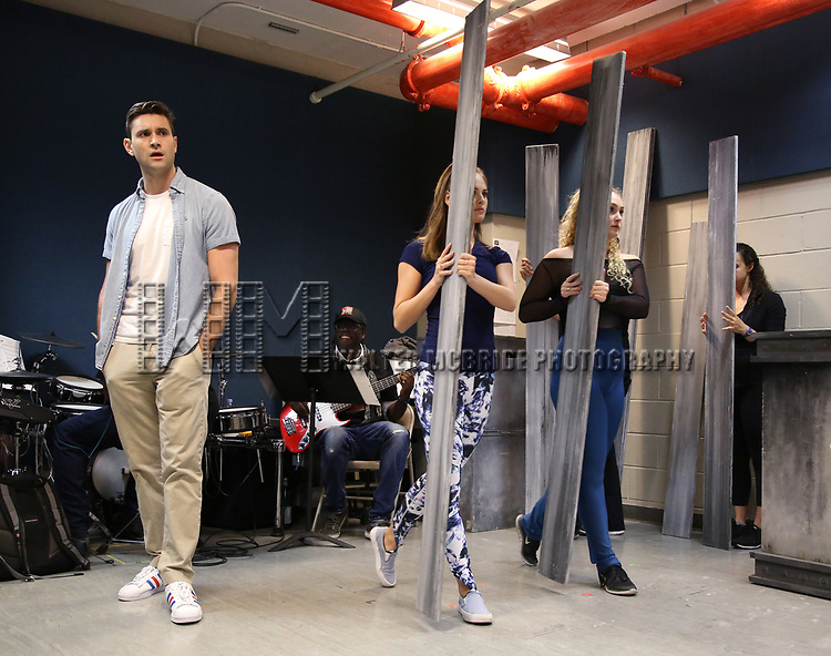 Jordan Bondurant with cast perform in the World Premiere musical presention of his show 'A World Apart' presented by the New York Musical Festival & New YorkRep on July 24, 2017 at the Acorn Theatre Studios at Theatre Row in New York City.