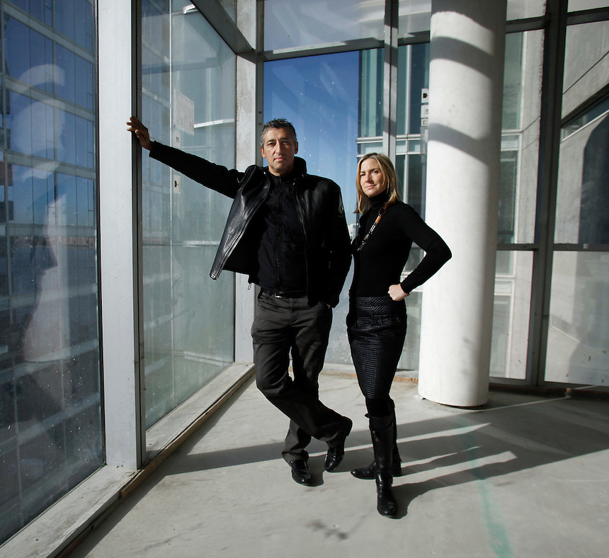 Architects Hani Rashid and Lise Anne Couture inside 166 Perry St. a building they designed in New York, which is still under construction.