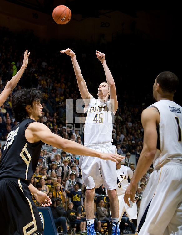 David Kravish of California shoots the ball during the game against Colorado Buffaloes at Haas Pavilion in Berkeley, California on March 2nd, 2013.  California defeated Colorado Buffaloes, 62-46.