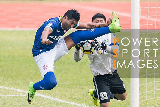 Cristian Caetano of Rangers (L) in action during the week three Premier League match between BC Rangers and Wofoo Tai Po at Sham Shui Po Sports Ground on September 17, 2017 in Hong Kong, China. Photo by Marcio Rodrigo Machado / Power Sport Images
