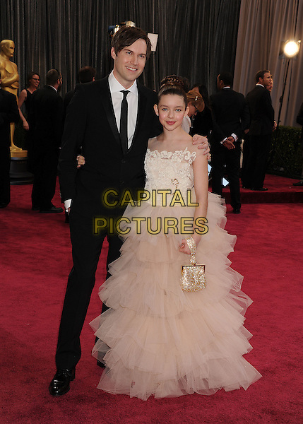 Shawn Christensen, Fatima Ptacek.85th Annual Academy Awards held at the Dolby Theatre at Hollywood & Highland Center, Hollywood, California, USA..February 24th, 2013.oscars full length white sheer dress hair up bun tulle layered layers gold bag purse black suit.CAP/ROT/TM.©Tony Michaels/Roth Stock/Capital Pictures