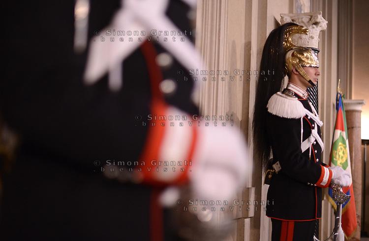Roma, 20 Marzo 2013.Quirinale.Iniziano le consultazioni con il Presidente della Repubblica per la formazione del nuovo Governo.. Corazzieri