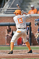 Tennessee Volunteers third baseman Nick Senzel (13) awaits a pitch during game one of a double header against the UC Irvine Anteaters at Lindsey Nelson Stadium on March 12, 2016 in Knoxville, Tennessee. The Volunteers defeated the Anteaters 14-4. (Tony Farlow/Four Seam Images)