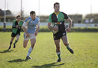 Ballynahinch winger Aaron Ferris races clear to score the third Hinch try during the AIB Cup semi-final at Ballymacarn Park, Ballynahinch. Mandatory Credit - John Dickson