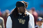 Wendell Dunn (14) of the Wake Forest Demon Deacons prior to the game against the Texas A&M Aggies in the 2017 Belk Bowl at Bank of America Stadium on December 29, 2017 in Charlotte, North Carolina.  The Demon Deacons defeated the Aggies 55-52.  (Brian Westerholt/Sports On Film)