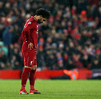 Liverpool's Mohamed Salah looks dejected<br /> <br /> Photographer Rich Linley/CameraSport<br /> <br /> UEFA Champions League Round of 16 First Leg - Liverpool and Bayern Munich - Tuesday 19th February 2019 - Anfield - Liverpool<br />  <br /> World Copyright © 2018 CameraSport. All rights reserved. 43 Linden Ave. Countesthorpe. Leicester. England. LE8 5PG - Tel: +44 (0) 116 277 4147 - admin@camerasport.com - www.camerasport.com