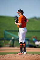 Frederick Keys starting pitcher Michael Baumann (36) looks in for the sign during the first game of a doubleheader against the Lynchburg Hillcats on June 12, 2018 at Nymeo Field at Harry Grove Stadium in Frederick, Maryland.  Frederick defeated Lynchburg 2-1.  (Mike Janes/Four Seam Images)