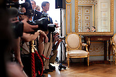 Caen, France - June 6, 2009 -- Members of the press watch as President Barack Obama meets with President Nicolas Sarkozy of France during a bilateral meeting in Caen, France, Saturday, June 6, 2009..Mandatory Credit: Pete Souza - White House via CNP