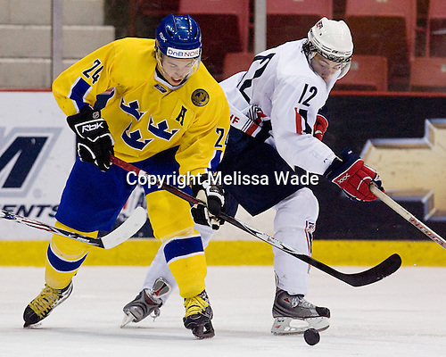 Tomas Larsson (Sweden/Skelleftea AIK - Skelleftea, Sweden), Aaron Palushaj (UMichigan - Northville, MI) - Team Sweden defeated US Team White 4-3 (SO) the late game at the 1980 Rink in Lake Placid, New York, during the Summer Hockey Challenge on Tuesday, August 7, 2007.