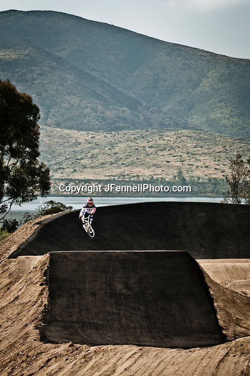 Connor Fields catching air on the London Replica BMX track at the US Olympic Training Center in Chula Vista, CA