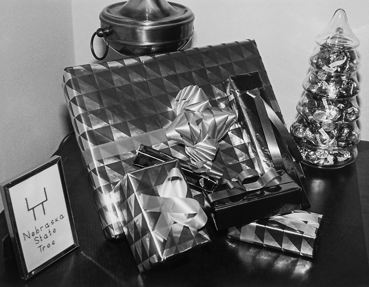 Decorated office with gifts of Rep. Doug Bereuter, R-Nebr., during Christmas contest in 1983. (Photo by CQ Roll Call via Getty Images)