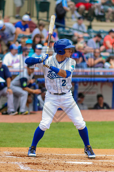 Lexington Legends outfielder Marten Gasparini (24) during a South Atlantic League game against the Columbia Fireflies on May 28, 2017 at Whitaker Bank Ballpark in Lexington, Kentucky.  Columbia defeated Lexington 3-0. (Brad Krause/Krause Sports Photography)