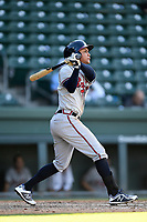 Second baseman Derian Cruz (7) of the Rome Braves bats in Game 1 of a doubleheader against the Greenville Drive on Friday, August 3, 2018, at Fluor Field at the West End in Greenville, South Carolina. Rome won, 7-6. (Tom Priddy/Four Seam Images)