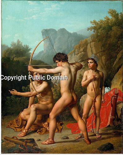 Three Spartan boys practising archery