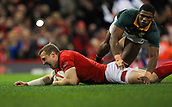 2nd December 2017, Principality Stadium, Cardiff, Wales; Autumn International Rugby Series, Wales versus South Africa; Hadleigh Parkes of Wales slides into score his sides second try