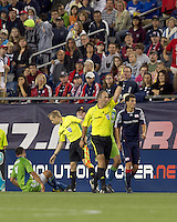 New England Revolution midfielder Marko Perovic (29) receives a yellow card caution. The New England Revolution defeated the Seattle Sounders FC, 3-1, at Gillette Stadium on September 4, 2010.