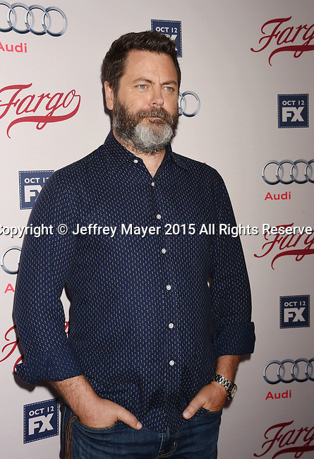 HOLLYWOOD, CA - OCTOBER 07: Actor Nick Offerman attends the premiere of FX's 'Fargo' Season 2 held at ArcLight Cinemas on October 7, 2015 in Hollywood, California.