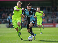 Max Kretzschmar of Wycombe Wanderers and Nicky Featherstone of Hartlepool United battle for the ball during the Sky Bet League 2 match between Wycombe Wanderers and Hartlepool United at Adams Park, High Wycombe, England on 5 September 2015. Photo by Andy Rowland.