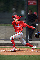 Philadelphia Phillies Jose Gomez (3) during a Minor League Spring Training game against the Toronto Blue Jays on March 30, 2018 at Carpenter Complex in Clearwater, Florida.  (Mike Janes/Four Seam Images)