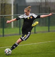 20141126 - TUBIZE , BELGIUM : Belgian Margaux Van Ackere pictured during the Friendly female soccer match between Women under 19 / 21  teams of  Belgium and Turkey .Wednesday 26th November 2014 . PHOTO DAVID CATRY