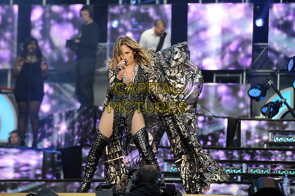 Jennifer Lopez<br /> Performing  at the 'Chime For Change' concert, Twickenham Stadium,  London, England. 1st June 2013 <br /> music live on stage gig full length black tassels suit leotard fishnet tights otk over the knee high thigh boots sparkly silver cloak print microphone singing <br /> CAP/MAR<br /> &copy; Martin Harris/Capital Pictures