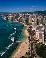 Waikiki Beach, Aerial View, Honolulu, Oahu, Hawaii, USA.