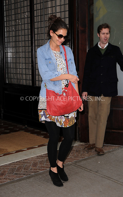 WWW.ACEPIXS.COM . . . . .  ....December 15 2011, New York City....Actress Katie Holmes leaving a downtown hotel on December 15 2011 in New York City....Please byline: CURTIS MEANS - ACE PICTURES.... *** ***..Ace Pictures, Inc:  ..Philip Vaughan (212) 243-8787 or (646) 679 0430..e-mail: info@acepixs.com..web: http://www.acepixs.com