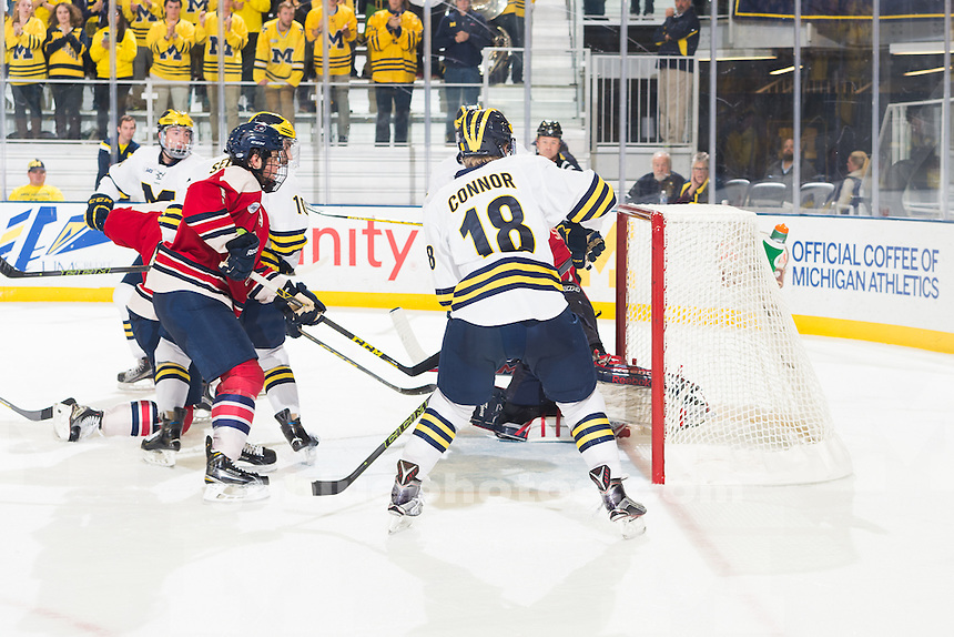 The University of Michigan men's hockey team beats Robert Morris,5-3, at Yost Ice Arena in Ann Arbor, Mich., on Oct. 30, 2015.