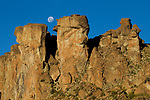 Moon over rock formation, Abra Granada, Andes, northwestern Argentina