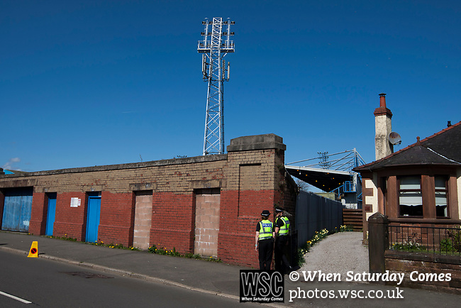 An exterior view the Terregles Street end of Palmerston Park, Dumfries before Queen of the South hosted Dundee United in a Scottish Championship fixture. The home has played at the same ground since its formation in 1919. Queens won the match 3-0 watched by a crowd of 1,531 spectators.