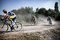 Team Sport Vlaanderen-Baloise riders in front of the peloton over a gravel/off-road section<br /> <br /> Antwerp Port Epic 2020 <br /> One Day Race: Antwerp to Antwerp 183km; of which 28km are cobbles and 35km is gravel/off-road<br /> Bingoal Cycling Cup 2020
