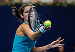 Julia Goerges of Germany hits a return during the singles Round Robin match of the WTA Elite Trophy Zhuhai 2017 against Kristina Mladenovic of France at Hengqin Tennis Center on November  03, 2017 in Zhuhai, China.  Photo by Yu Chun Christopher Wong / Power Sport Images