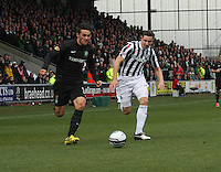 Anthony Watt takes on Paul Dummett in the St Mirren v Celtic Clydesdale Bank Scottish Premier League match played at St Mirren Park, Paisley on 20.10.12.