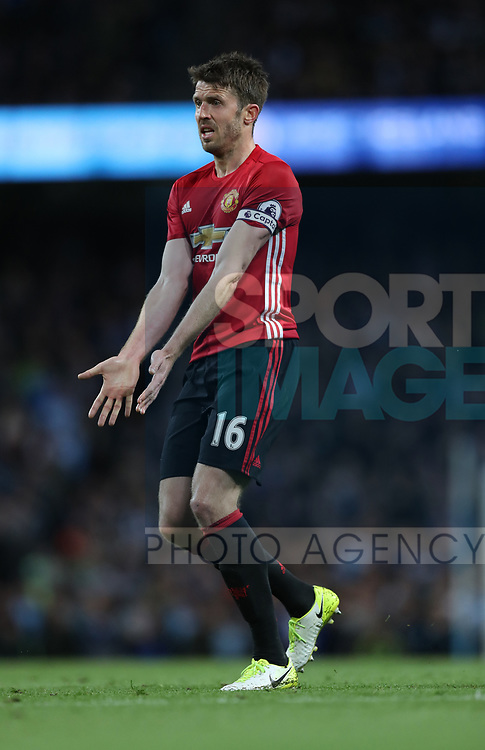Michael Carrick of Manchester United during the English Premier League match at The Etihad Stadium, Manchester. Picture date: April 27th, 2016. Photo credit should read: Lynne Cameron/Sportimage