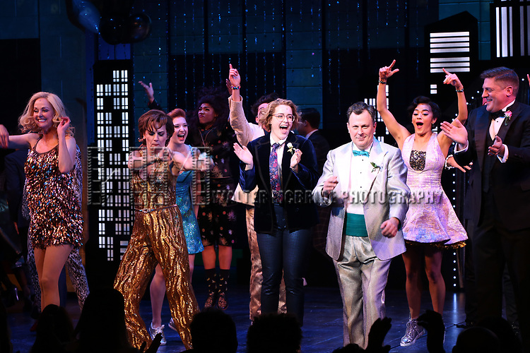"""Angie Schworer, Beth Leavel, Caitlin Kinnunen, Brooks Ashmanskas, Christopher Sieber during the Broadway Opening Night Curtain Call of """"The Prom"""" at The Longacre Theatre on November 15, 2018 in New York City."""